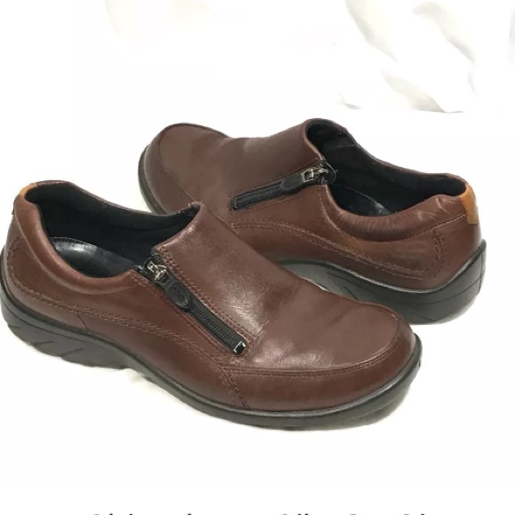 Ecco Brown Side Zipper Slip Loafers Shoes 38 7-7.5
